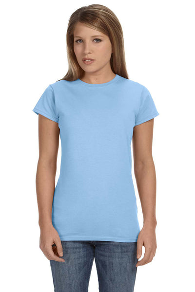 Gildan G640L Womens Softstyle Short Sleeve Crewneck T-Shirt Light Blue Front