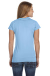 Gildan G640L Womens Softstyle Short Sleeve Crewneck T-Shirt Light Blue Back