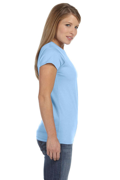 Gildan G640L Womens Softstyle Short Sleeve Crewneck T-Shirt Light Blue Side