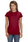 Gildan G640L Womens Softstyle Short Sleeve Crewneck T-Shirt Antique Cherry Red Front
