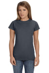 Gildan G640L Womens Softstyle Short Sleeve Crewneck T-Shirt Heather Dark Grey Front