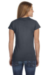 Gildan G640L Womens Softstyle Short Sleeve Crewneck T-Shirt Heather Dark Grey Back