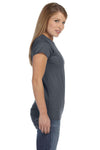 Gildan G640L Womens Softstyle Short Sleeve Crewneck T-Shirt Heather Dark Grey Side