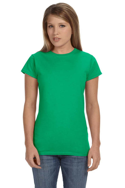 Gildan G640L Womens Softstyle Short Sleeve Crewneck T-Shirt Irish Green Front