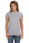 Gildan G640L Womens Softstyle Short Sleeve Crewneck T-Shirt Sport Grey Front