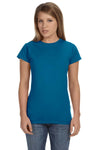 Gildan G640L Womens Softstyle Short Sleeve Crewneck T-Shirt Antique Sapphire Blue Front