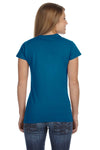 Gildan G640L Womens Softstyle Short Sleeve Crewneck T-Shirt Antique Sapphire Blue Back