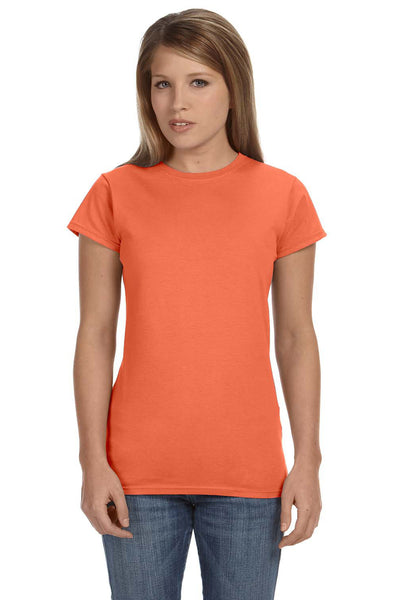 Gildan G640L Womens Softstyle Short Sleeve Crewneck T-Shirt Heather Orange Front