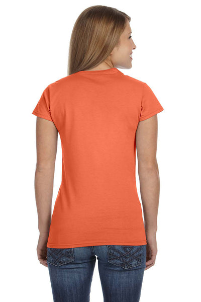 Gildan G640L Womens Softstyle Short Sleeve Crewneck T-Shirt Heather Orange Back