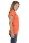 Gildan G640L Womens Softstyle Short Sleeve Crewneck T-Shirt Heather Orange Side