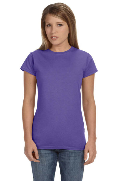 Gildan G640L Womens Softstyle Short Sleeve Crewneck T-Shirt Heather Purple Front