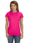 Gildan G640L Womens Softstyle Short Sleeve Crewneck T-Shirt Antique Heliconia Pink Front
