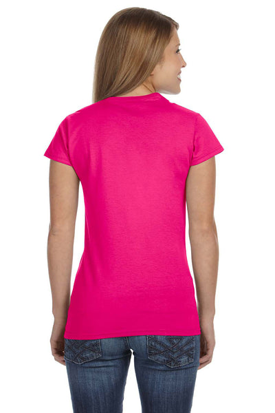 Gildan G640L Womens Softstyle Short Sleeve Crewneck T-Shirt Antique Heliconia Pink Back