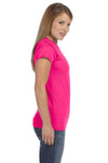 Gildan G640L Womens Softstyle Short Sleeve Crewneck T-Shirt Antique Heliconia Pink Side