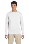 Gildan G644 Mens Softstyle Long Sleeve Crewneck T-Shirt White Front