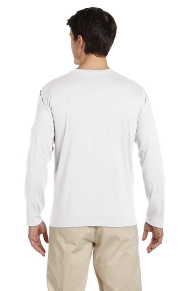 Gildan G644 Mens Softstyle Long Sleeve Crewneck T-Shirt White Back