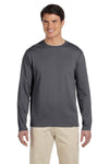 Gildan G644 Mens Softstyle Long Sleeve Crewneck T-Shirt Charcoal Grey Front
