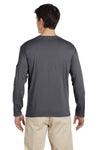 Gildan G644 Mens Softstyle Long Sleeve Crewneck T-Shirt Charcoal Grey Back