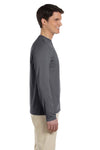 Gildan G644 Mens Softstyle Long Sleeve Crewneck T-Shirt Charcoal Grey Side