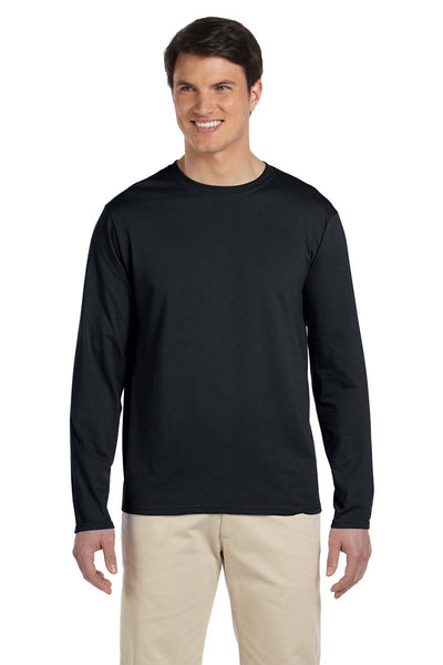 Gildan G644 Mens Softstyle Long Sleeve Crewneck T-Shirt Black Front