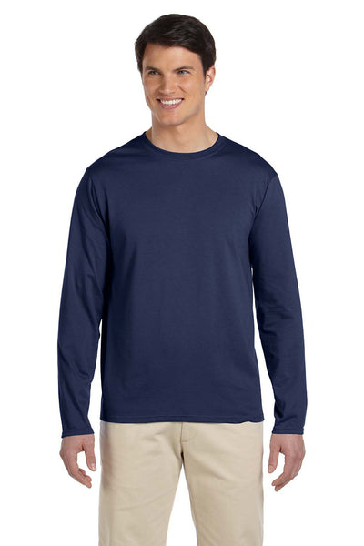 Gildan G644 Mens Softstyle Long Sleeve Crewneck T-Shirt Navy Blue Front