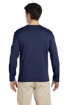Gildan G644 Mens Softstyle Long Sleeve Crewneck T-Shirt Navy Blue Back