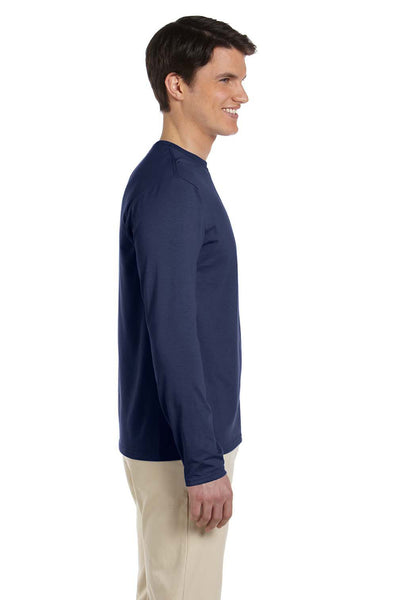 Gildan G644 Mens Softstyle Long Sleeve Crewneck T-Shirt Navy Blue Side