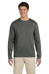 Gildan G644 Mens Softstyle Long Sleeve Crewneck T-Shirt Military Green Front