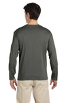 Gildan G644 Mens Softstyle Long Sleeve Crewneck T-Shirt Military Green Back