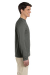 Gildan G644 Mens Softstyle Long Sleeve Crewneck T-Shirt Military Green Side