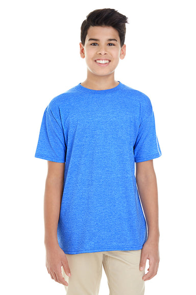 Gildan G645B Youth Softstyle Short Sleeve Crewneck T-Shirt Heather Royal Blue Front