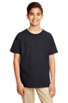 Gildan G645B Youth Softstyle Short Sleeve Crewneck T-Shirt Black Front