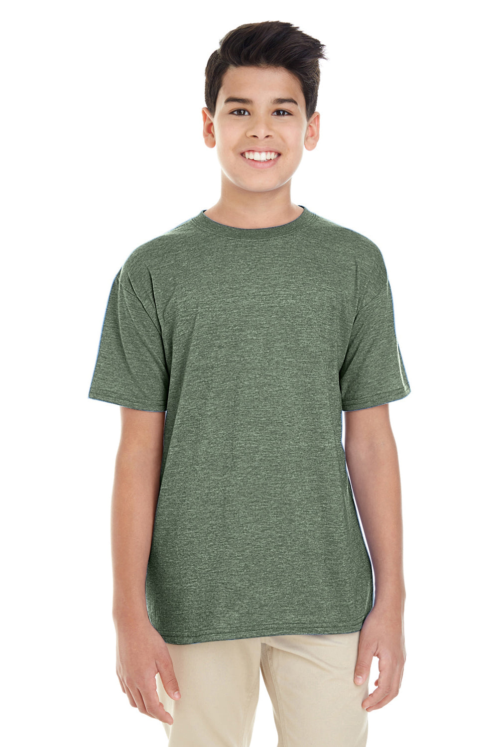 Gildan G645B Youth Softstyle Short Sleeve Crewneck T-Shirt Heather Military Green Front