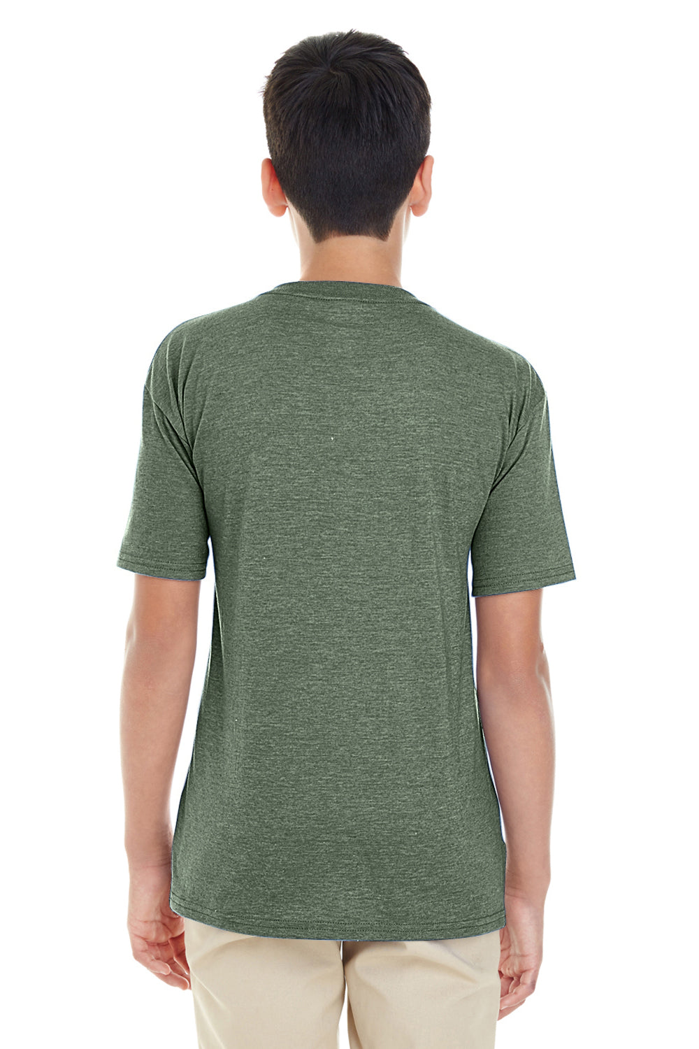 Gildan G645B Youth Softstyle Short Sleeve Crewneck T-Shirt Heather Military Green Back
