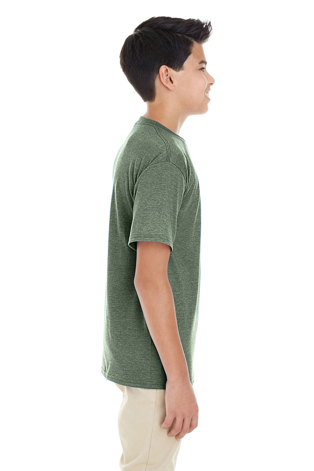 Gildan G645B Youth Softstyle Short Sleeve Crewneck T-Shirt Heather Military Green Side