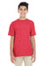 Gildan G645B Youth Softstyle Short Sleeve Crewneck T-Shirt Heather Red Front
