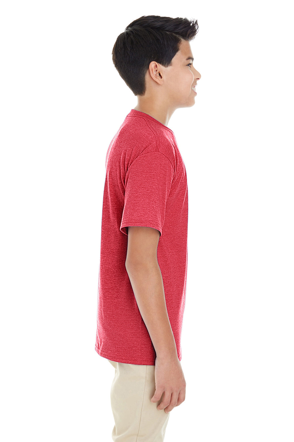 Gildan G645B Youth Softstyle Short Sleeve Crewneck T-Shirt Heather Red Side
