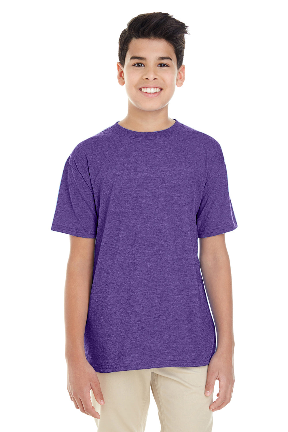 Gildan G645B Youth Softstyle Short Sleeve Crewneck T-Shirt Heather Purple Front
