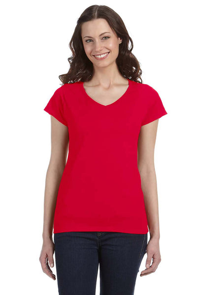 Gildan G64VL Womens Softstyle Short Sleeve V-Neck T-Shirt Red Front