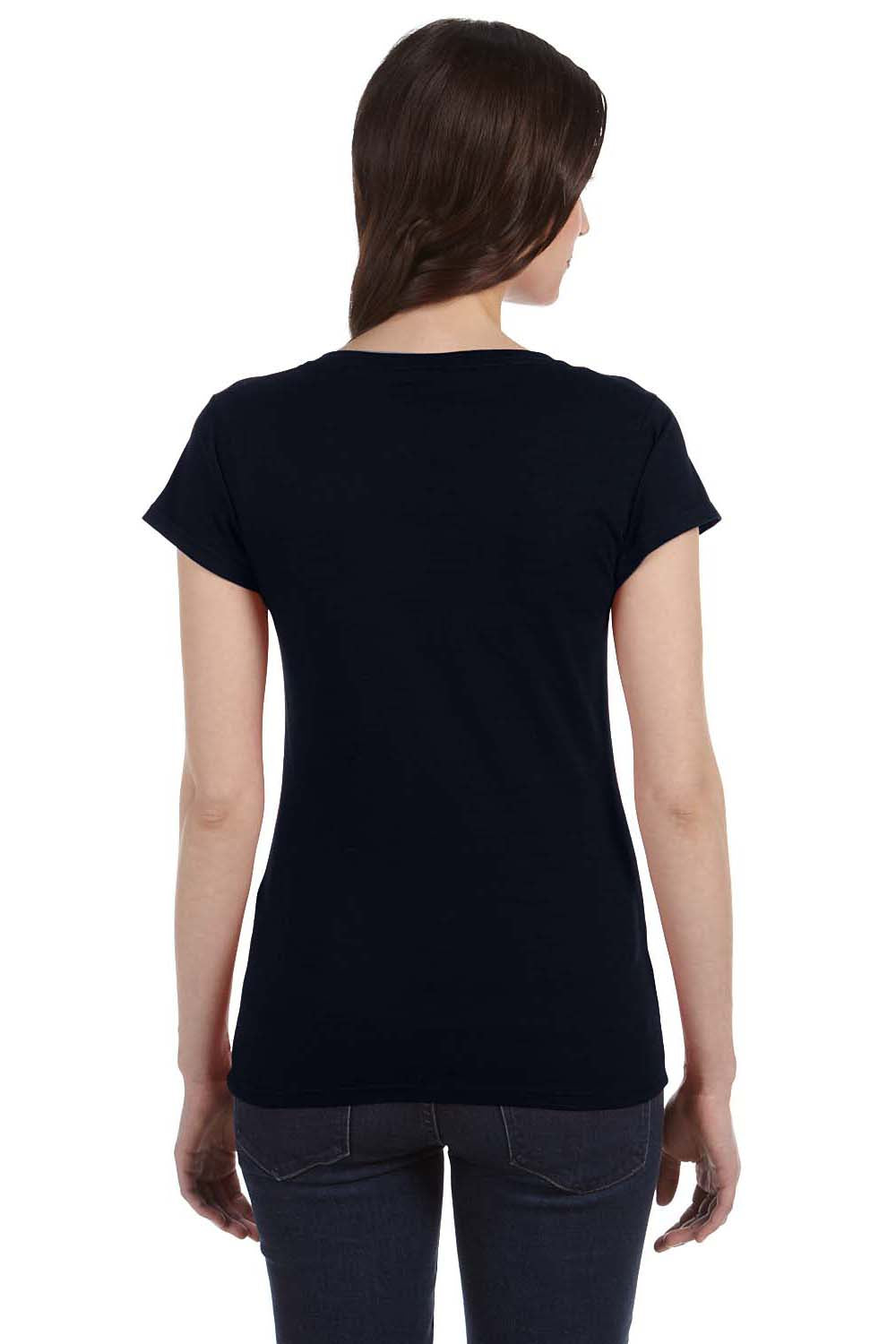 Gildan G64VL Womens Softstyle Short Sleeve V-Neck T-Shirt Black Back