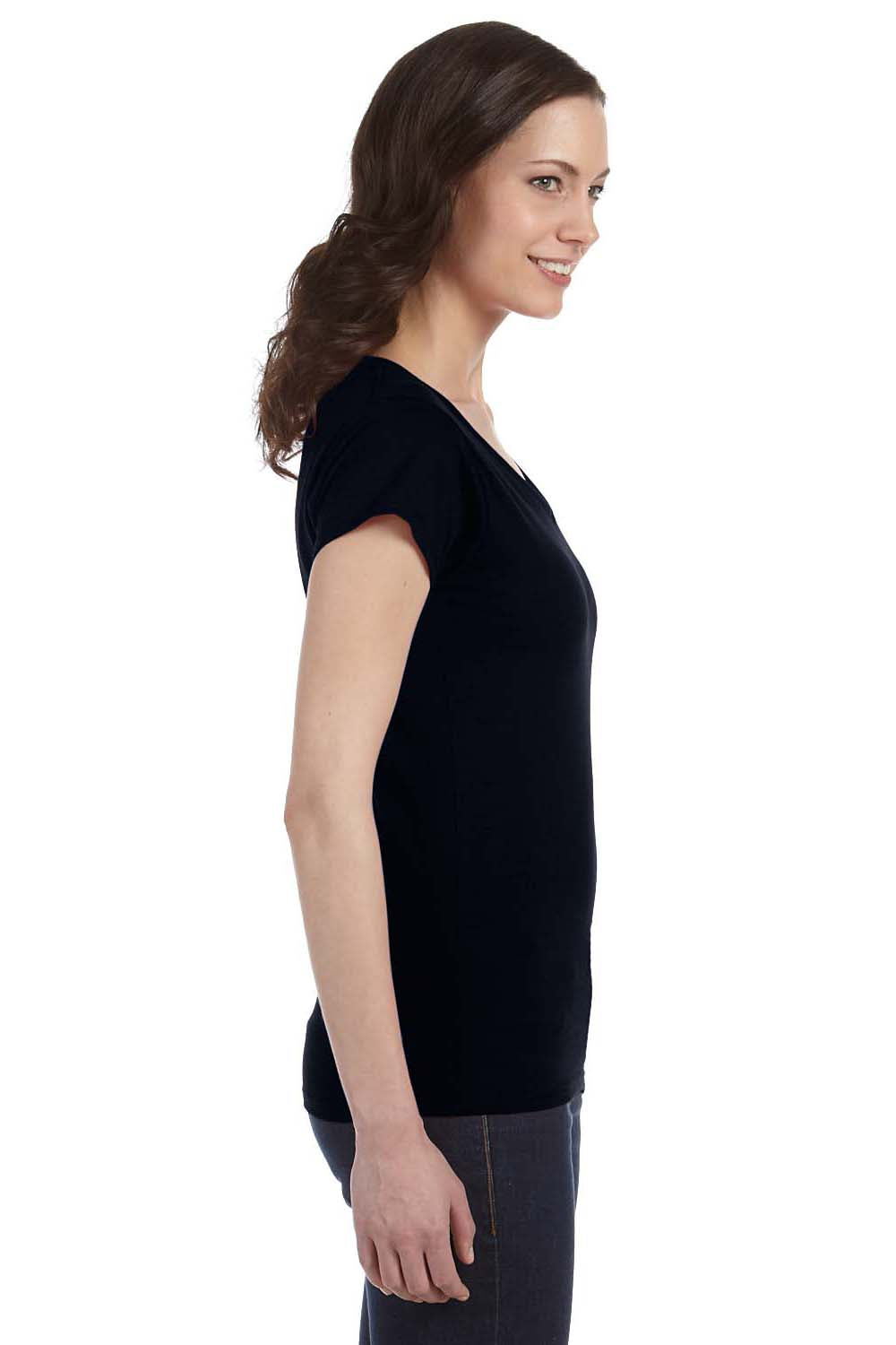 Gildan G64VL Womens Softstyle Short Sleeve V-Neck T-Shirt Black Side