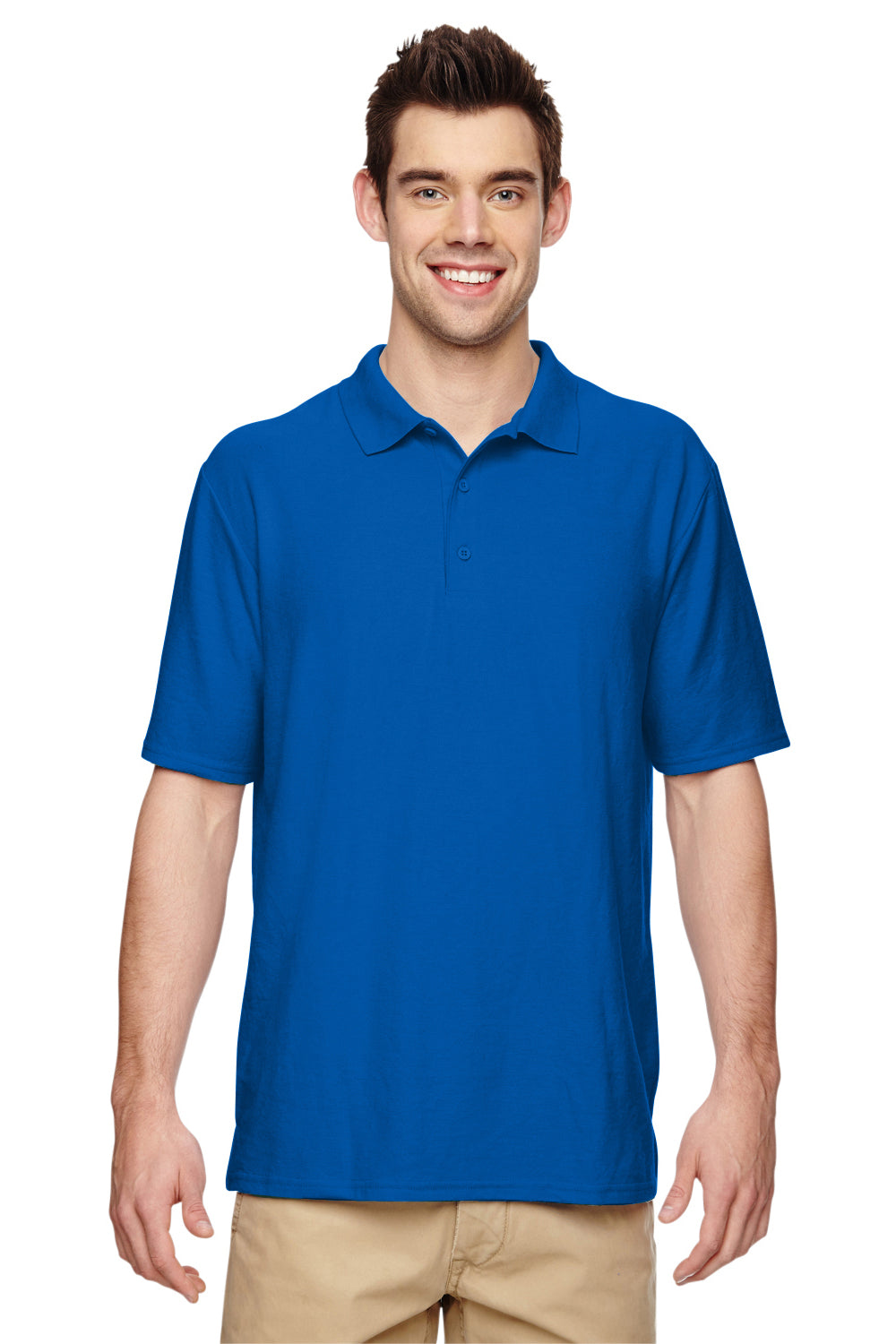 Gildan G728 Mens DryBlend Moisture Wicking Short Sleeve Polo Shirt Royal Blue Front