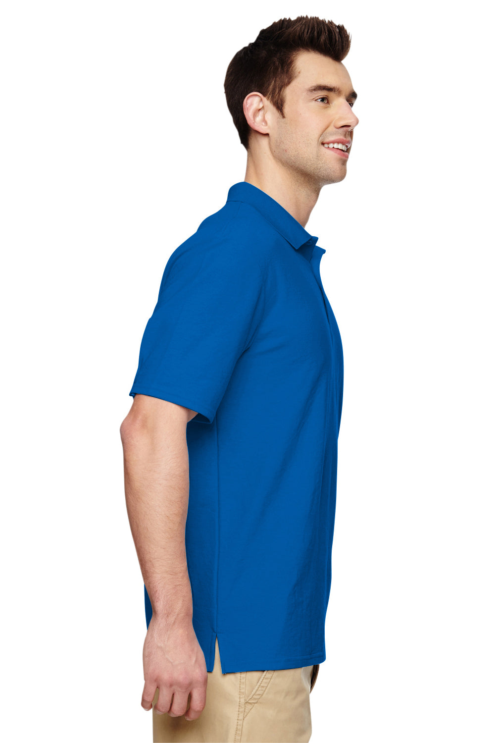 Gildan G728 Mens DryBlend Moisture Wicking Short Sleeve Polo Shirt Royal Blue Side