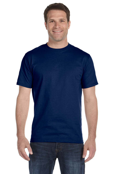 Gildan G800 Mens DryBlend Moisture Wicking Short Sleeve Crewneck T-Shirt Navy Blue Front