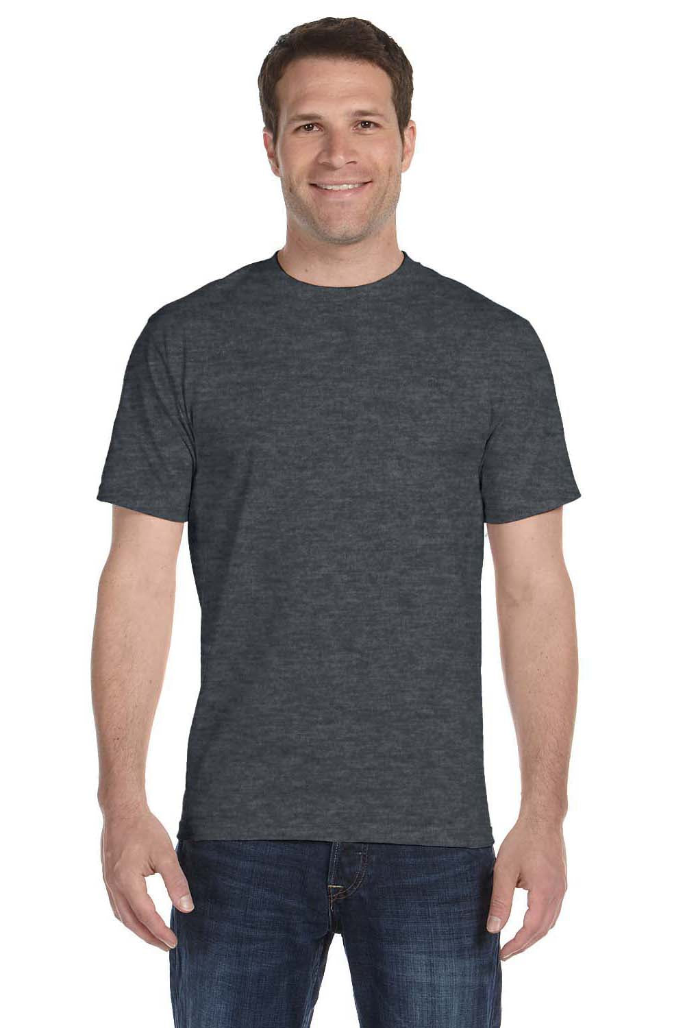 Gildan G800 Mens DryBlend Moisture Wicking Short Sleeve Crewneck T-Shirt Heather Dark Grey Front