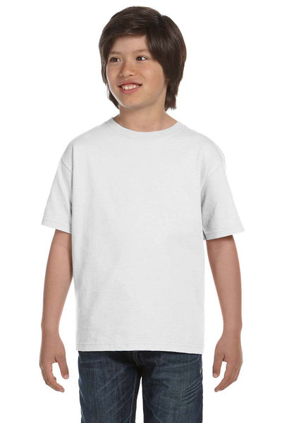 Gildan G800B Youth DryBlend Moisture Wicking Short Sleeve Crewneck T-Shirt White Front