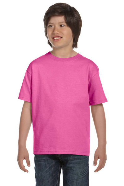 Gildan G800B Youth DryBlend Moisture Wicking Short Sleeve Crewneck T-Shirt Azalea Pink Front