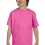 Gildan Youth DryBlend Moisture Wicking Short Sleeve Crewneck T-Shirt - Azalea Pink