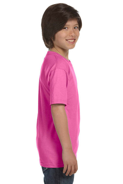 Gildan G800B Youth DryBlend Moisture Wicking Short Sleeve Crewneck T-Shirt Azalea Pink Side