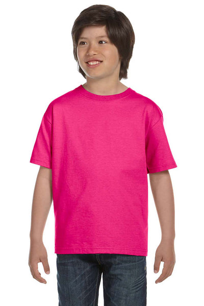 Gildan G800B Youth DryBlend Moisture Wicking Short Sleeve Crewneck T-Shirt Heliconia Pink Front